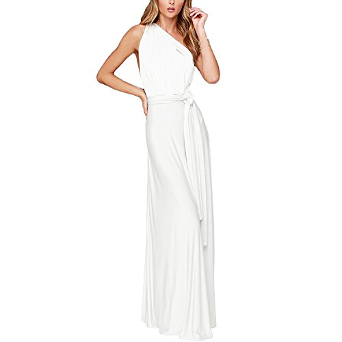 IBTOM CASTLE Women's Transformer/Wrap Solid Maxi Cocktail Dress (4/XS, White)