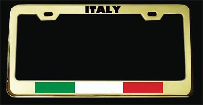 Moon Italy Italian Flag Gold Plated Heavy Duty License Plate Frame Tag Holder Perfect for Men Women Car garadge Decor