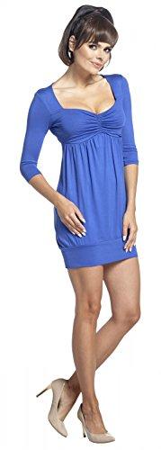 Zeta Ville - Vestido mini túnica cintura imperio escote corazón - mujer - 957z Azul Real