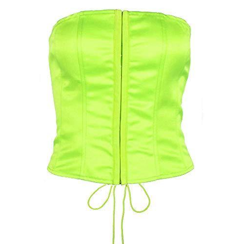 Women's Criss Cross Lace Up Tank Top Sexy Slim Bandeau Bralette Crop Top Green