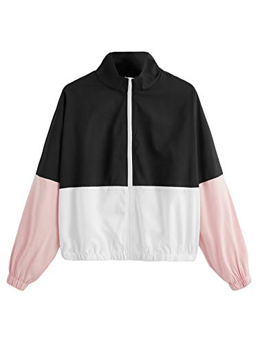 SweatyRocks Women's Casual Color Block Drawstring Hooded Windbreaker Jacket