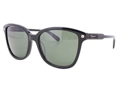 (Salvatore Ferragamo Women's Square Sunglasses, Black/Green, One Size)