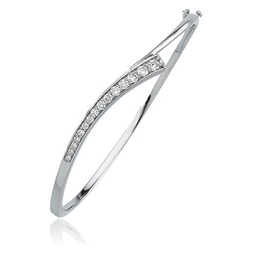 Journey Diamond Bracelet in 14k White Gold (Bangle Journey Bracelet Diamond)