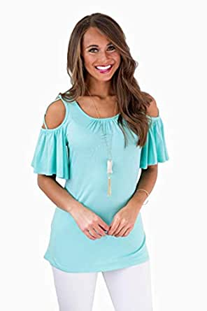 Women's Cold Shoulder T Shirts Round Neck Casual Short Sleeve Tops(Baby Blue/XXL)
