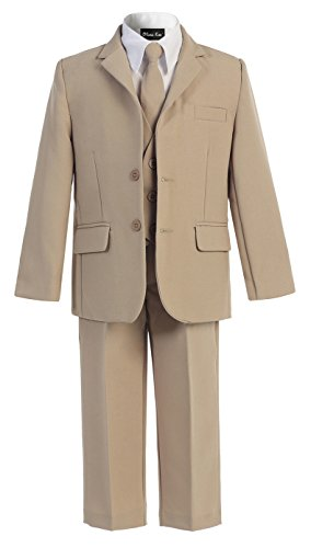 OLIVIA KOO Boys Solid 5-Piece Formal Suit Set With Matching Neck Tie (Khaki, Size 8)