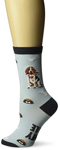 K. Bell Socks Women's Beagle Crew, Blue, Shoe Size 4-10