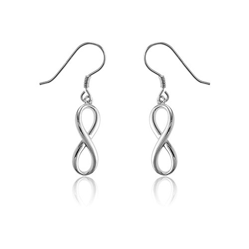 Sterling Silver Infinity Figure 8 High-Polish, Solid Dangling Earrings