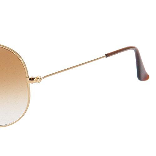 degradado 001 sol en RB3025 de clásico Gafas 62 oro de Ban Brown marrón aviador Ray 51 t07wvqv