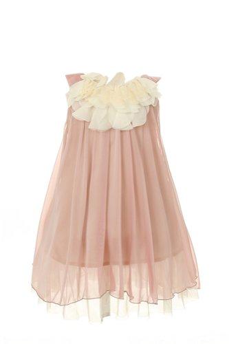 Kids Dream girls Coral Chiffon Short Flower Girl Dress-Coral-6