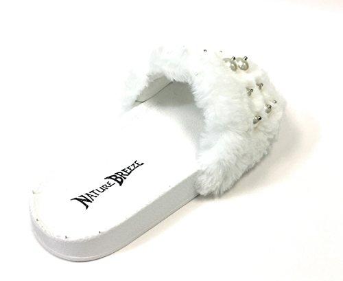 Pantofola Flatform Sfoderata Da Donna - Vasca Da Bagno Casual Allaperto - Sandalo Rampicante Peloso - Perla Su Pelliccia Bianca