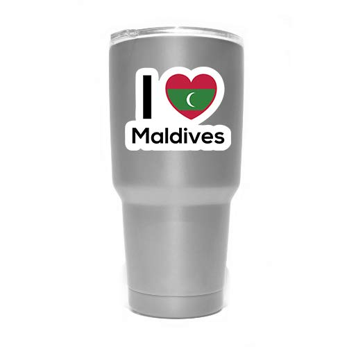 MKS0264 Love Maldives Flag Decal Sticker Home Pride Travel Car Truck Van Bumper Window Laptop Cup Wall Two 3 Inch Decals