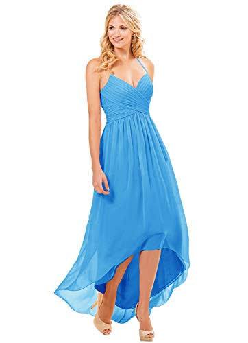 Women's Halter V-Neck Spaghetti Strap Tea Length Party Dress High Low Evening Gown Ocean Blue Size ()