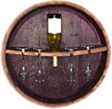 Oak Wine Barrel head Stemware Rack and Bottle Holder By Wine Barrel Creations