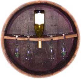 Oak Wine Barrel head Stemware Rack and Bottle Holder By Wine Barrel Creations by Wine Barrel Creations Inc.