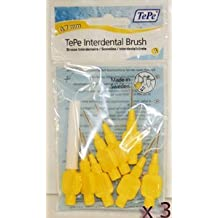 TePe Interdental Brushes 0.7mm Yellow - 3 Packets of 8 (24 Brushes) by Tepe