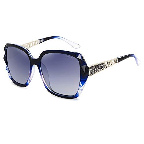 Leckirut Women Shades Classic Oversized Polarized Sunglasses 100% UV Protection Eyewear blue frame/gray lens