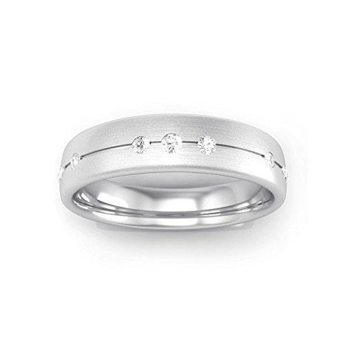 14K White Gold Real Diamond Classic Wedding Band Ring (0.18ct (0.18 Ct Si Diamond)