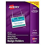 Avery Clear Heavy-Duty Hanging Style Landscape Badge Holders, 3'' x 4'', Box of 100 (2922)