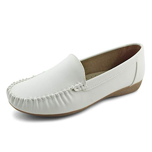 Jabasic Women Slip On Loafers Casual Breathable Walking Flat Shoes (7,White)