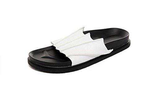 Bininbox Mens Flip-floppene Flat Sandal Pustende Sko Tøfler Åpen-tå Bat Hvit
