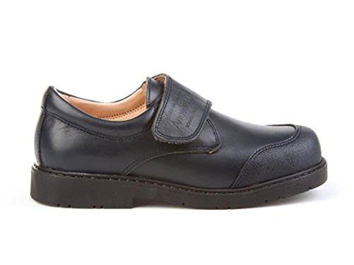 ANGELITOS Zapatos Colegiales con Puntera Reforzada Todo Piel, Mod.452. Calzado infantil (Talla 24 - Azul Marino)