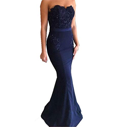 - Mermaid Prom Dresses Sweetheart Sleeveless Sexy Long Evening Dress with Lace Navy Blue