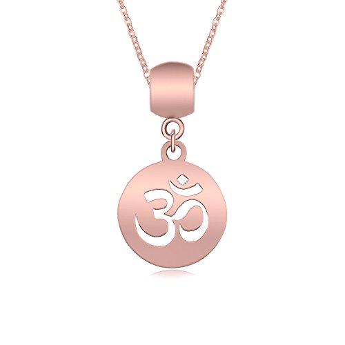 TUSHUO Simple Cute Personalized Aum Om Ohm Sanskrit Symbol Hollow Yoga Charm Pendant Necklace (Rose (Symbol Gold Pendant)