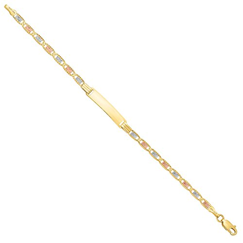 14 Karat Three Tone, Yellow Gold, White Gold and Rose Gold ID Bracelet 4.4mm(Length: 7.25 or 8.25'') (7.25) by MCS Jewelry