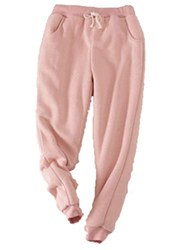 Dantees Women Fleece Pants Loungewear Jogger Winter Casual Solid Drawstring Trousers