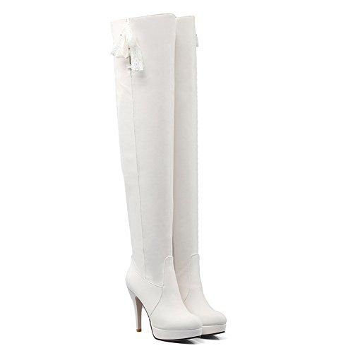 BalaMasa Womens Fashion Casual Zipper Platform Fabric-And-Leather Boots White ISC3SsNkeg