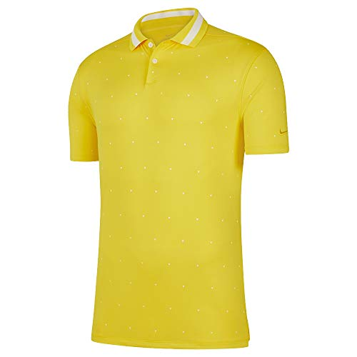 Nike Dry Fit Vapor Print Golf Polo 2019 Chrome Yellow/Sail Large ...