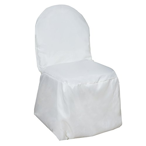 BalsaCircle 100 pcs Ivory Polyester Banquet Chair Covers for Party Wedding Linens Decorations Dinning Ceremony Reception Supplies (Chairs Plastic Price List)