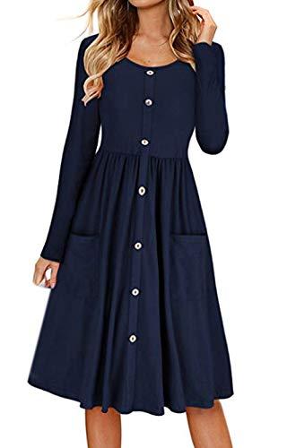 Primavera y Otoño Mujeres Midi Vestido con Botón Casual Cuello Redondo Manga Larga A-Line Vestido de Playa Moda Plisado Vestidos de Partido Cóctel Eventos Azul Oscuro