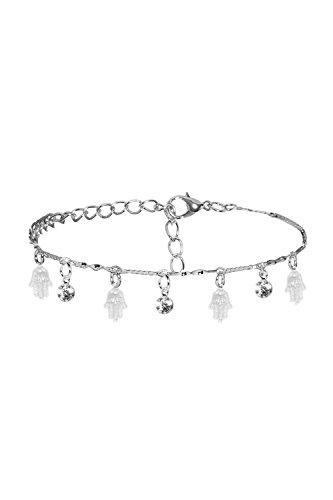 Anklet Feet Dangling Hamsa Khamsa Palm Rhinestones Charm Bracelet Women Jewelry (Dangling Silver Bracelet)