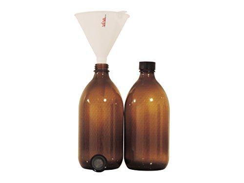Viva-Haushaltswaren - 2 Apothekerflaschen 500 ml / Medizinflaschen / Braunglasflaschen inkl. einem Trichter