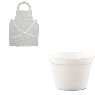 KITBWK390DRC4J6 - Value Kit - Dart Hinged-Lid Food Containers (DRC4J6) and Boardwalk Disposable Apron (BWK390)