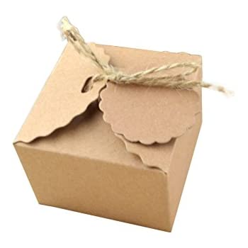 Yalulu 50pcs Kraft Paper Candy Box Rustic Wedding Favors Candy Holder Bags Wedding Party Gift Boxes with Ribbon Tags (#2)