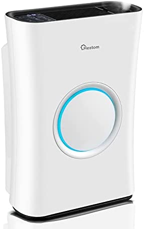 Hestom Air Purifier with Humidifier for Large Room, 1200 Sq Ft Coverage, H13 HEPA Air Cleaner Filter for Home, Ideal for Pets, Low Noise, Auto Mode, 4 Fans Setting, Sleep Mode, White