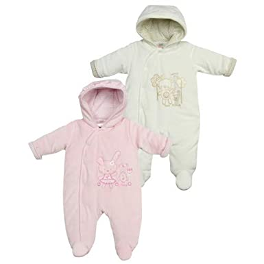 Baby Embroidered Bunny//Bear Motifs Hooded Snowsuit//Pramsuit
