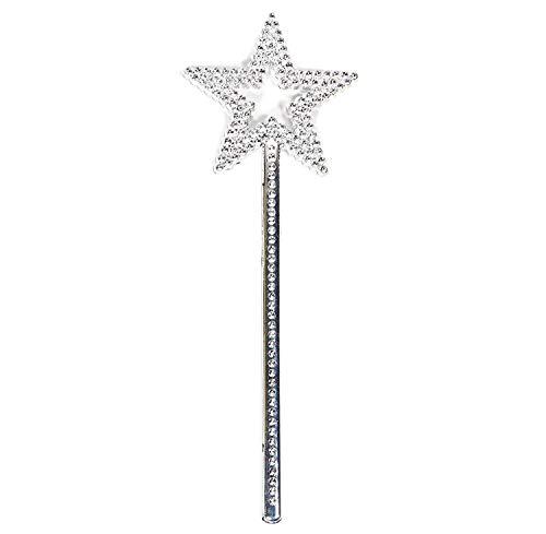AnFun Star Wand,13 Inches Silver Fairy Princess Angel Wand (Silver)