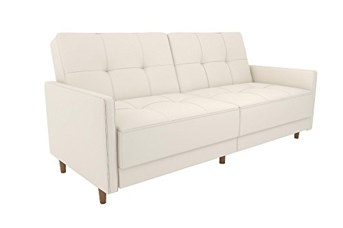 Modern Faux Leather Sofa (DHP Andora Coil Futon with Mid Century Modern Design - White Faux Leather)