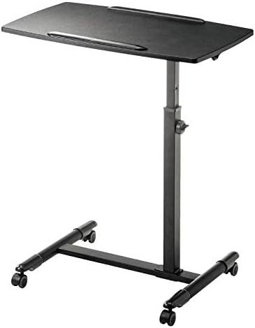 アルミニウム合金 ダイニングテーブル 折りたたみ無段階座位立位両用オフィスワークテーブル 黒MDF 付き,パソコンデスク デスク 机 高さ調節可能、ロック可能なキャスター