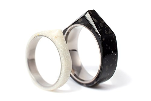 Set of two corian & titanium wedding bands with faceted design. Water resistant, very durable and hypoallergenic. (02501_3N_02502_7N)