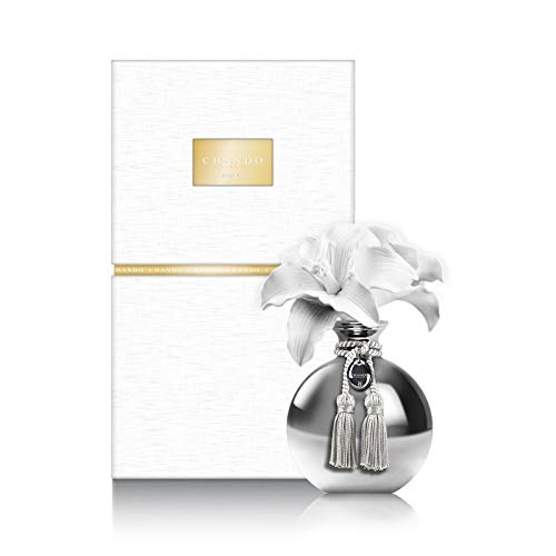 Chando Porclain Oil Diffuser From the Myst Collection with a Beautiful Great Fresh Lily Aroma (Silver) With A Nice Tray 200ml