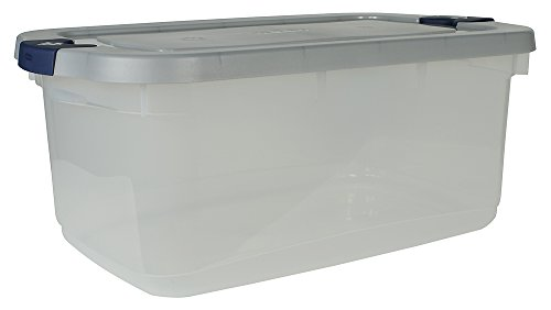 Rubbermaid Roughneck Clear Storage Container, 50 qt., Clear Base, Grey and Black Lid, Pack of 5
