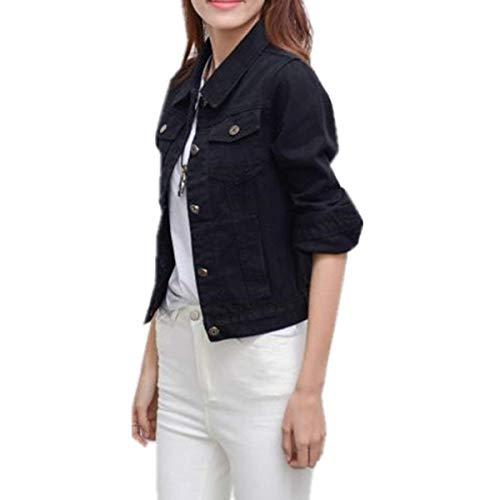 Eleganti Autunno Jeans Manica Schwarz Cappotto Bavero Primaverile Fidanzato Donna Distressed Fashion Anaisy Giacca Lunga Ragazze Tendenza Giovane Stile Coat dqtwfXq
