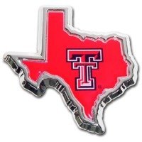 Texas Tech University Red Raiders Color State Shape Chrome Plated Premium Metal Car Truck Motorcycle NCAA College Emblem by Elektroplate