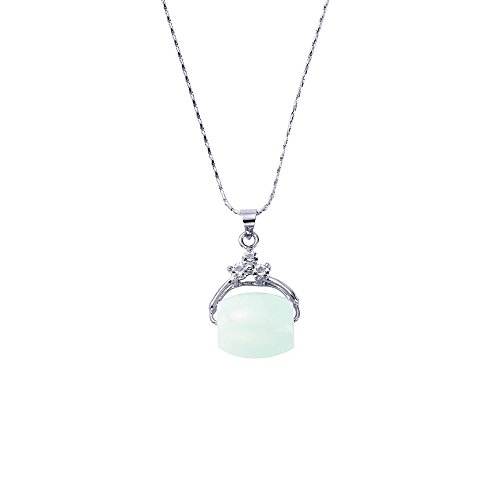 Mothers day gifts,14K White gold Natural green jade pendant, Good Fortune,Longevity Script Pendant Necklace, jade to bring good luck.FREE BEE (14k Gold Green Natural)