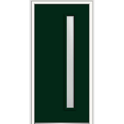 National Door Company Z0345812L Fiberglass Smooth, Hunter Green, Left Hand In-Swing, Exterior Prehung Door, Clear Low-E 1-Lite, 30