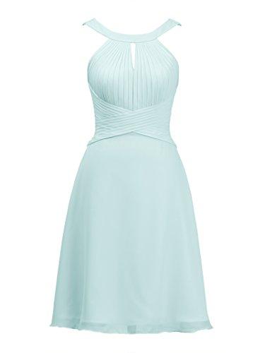 Cocktail Bridesmaid Party Keyhole Light Formal Short Alicepub Dress Bridal Dress Chiffon Blue 6w18EEq7x